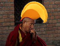 Tibetan monk, Swayambhunath stupa, Nepal 1989