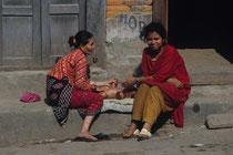 Two women with a baby, Durbar square, Kathmandu, Nepal 1993