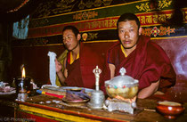 Two monks in Ganden Monastery, Tibet 1993