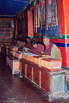 Monks praying in Tashilhuenpo Monastery, Shigatse Tibet 1993