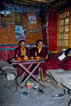 Two young monks in the little monastery of Tsurphu, Tibet 1993