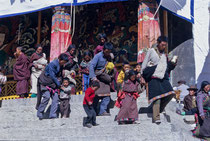 Tibetan people on the steps of Drepung Monastery, Tibet 1993