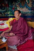 Old monk in Palkhor Choede Monastery, Gyantse Tibet 1993