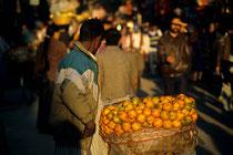 Man selling fruits in the streets of Kathmandu, Nepal 1993