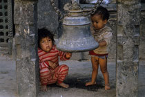 Young kids in the streets of Kathmandu, Nepal 1989