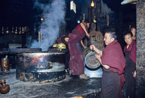 Tibetan monks preparing the butter tea in Drepung Monastery, Tibet 1993