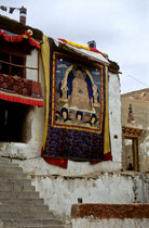 Big Thangka at the wall of Karzok Monastery, Tso Moriri Lake, Ladakh 1994