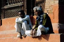 Men sitting on the steps of a temple, Durbar square, Kathmandu, Nepal 1993