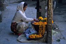 Woman selling flowers, Kathmandu, Nepal 1989