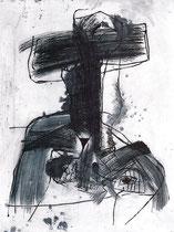 """""""Sarajevo III"""" 1993, Kaltnadelradierung, Auflage 10 Ex.,64x49,5cm"""