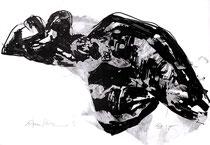 """Am Strand"" 1998, Tusche-Lavage, 55x80cm"