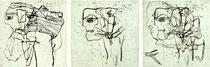 """""""Die Schöne und das Biest I-III"""" 1998, Kaltnadelradierung, Auflage 10 Ex.,10x10cm"""
