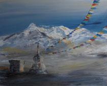 Elvira Walther: Gebetsfahnen in der Berglandschaft Tibets, 80x100 cm, auf Keilrahmen.