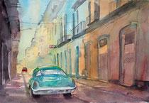 Elvira Walther: Straßenszene Havanna, 38x51 cm,