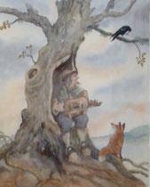 le musicien de l'arbre creux-50x65