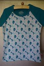 T'shirt alien, maat 86/92, 98/104, 110/116, 122/128, 134/140. Prijs 12,95 excl. verzendkosten