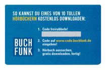Rubbelkarte im Scheckkartenformat mit Code für einen kostenlosen Hörbuchdownload