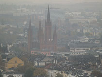 Blick in die Innenstadt zur Marktkirche und Stadtschloß