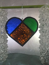 1 Orange stained glass heart large 20€