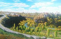 Stadt Aschtarak, 2018, Öl auf Leinwand, 140x95