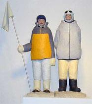 Basislager1, 2005, Gips, Baumwolle, Draht, Acrylfarbe, 71 x 57 x 36 cm