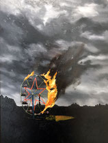 The Ferris Wheel Burned Down  14 x 17.5 (22 x 22.5 with frame)  oil on panel  $350