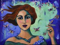 """Milagros II   acrylic on canvas  Carla Golembe  12"""" x 16""""  $500"""