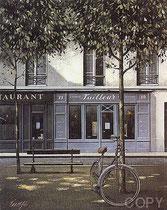 "Bicyclette Pl. Dauphine, (Serigraph) 16 x 13"""