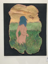 Nude in Landscape   ceramic on board  Bernon Brejcha  $250