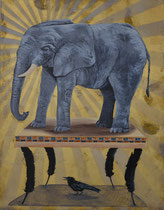 The Weight of It All   Mixed media on panel $375