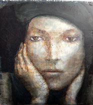 "French Girl  oil on plaster on burlap,  Stephen Maffin  $2300  23"" x 25"""