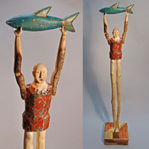 "Atlas Fish #2  carved fallen aspen, reclaimed wood, vintage tin, acrylic paint, wax 51"" x 9"" x 9""  Elizabeth Frank  $2500"