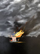 The Carousel Burned Down  14 x 17.5 (22 x 25.5 with frame) oil on panel $350