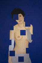 "Because They Want Us to Disappear, oil and silver leaf on canvas,  Kathryne Husk   $1700  24"" x 36"""