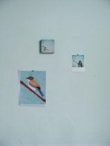 Bilder auf jadegrüner Wand