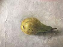 """Ruth Moch: """"Birne""""<br>Öl auf Leinwand – 30 × 30 cm<br>280,-€<br>e-mail: ruth.moch@gmx.de, Tel: 089 9570183"""