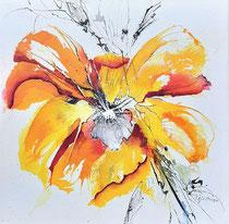 "Renate Günthner: ""Gelbe Blüte""<br>Aquarell auf Leinwand – 40 × 40 cm<br>160,-€<br>e-mail: renate.guenthner@gmail.com"