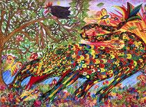 """Klaus Drechsler: """"Glücksdrache Ungestüm""""<br>Aquarellstiftzeichnung – 31 × 44 cm<br>unverkäuflich"""
