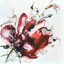 "Renate Günthner: ""Rote Blüte""<br>Aquarell auf Leinwand – 40 × 40 cm<br>160,-€<br>e-mail: renate.guenthner@gmail.com"