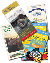 Folder, Flyer und Plakate, verschiedene Auftraggeber