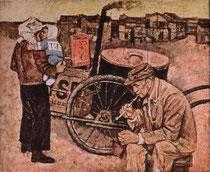 金昌徳 「貧しき生活」(120×130cm、1960年)