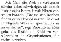 Absatz aus dem FAS-Artikel über David Rubenstein vom 20.10.2013, Autor: Norbert Kuls