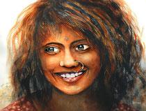 Portrait d'Indienne Aquarelle sur Arches 300gr 46 x 61 cm