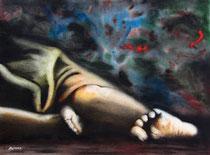 Nuit dans la rue, fusain & aquarelle: Arches, 40 x 30 cm