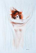 Rouge douceur pastels: Papier blanc 250gr, 55 x 35 cm
