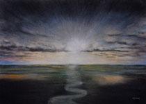 L'eau delà, pastel sec sur papier Arches 300gr, 61 x 46 cm