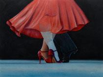 Tango rouge fusain et pastels: Arches 300gr, 46 x 61 cm