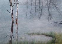 Bouleaux dans l'eau pastels 56 cm x 76 cm