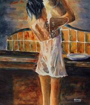 Tant va la cruche à l'eau Aquarelle: Arches 300gr, 33 x 29 cm