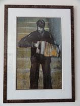Les escaliers de la butte, 1987 (gouache et craie, 48 x 29, coll. part. AK)